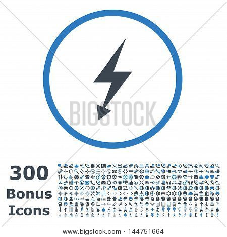 Electric Strike rounded icon with 300 bonus icons. Vector illustration style is flat iconic bicolor symbols, smooth blue colors, white background.