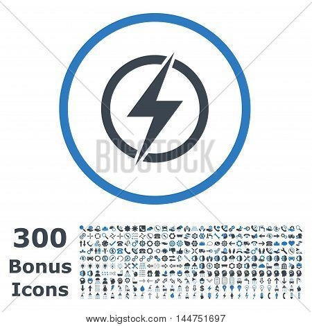 Electricity rounded icon with 300 bonus icons. Vector illustration style is flat iconic bicolor symbols, smooth blue colors, white background.