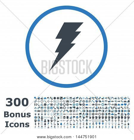 Execute rounded icon with 300 bonus icons. Vector illustration style is flat iconic bicolor symbols, smooth blue colors, white background.