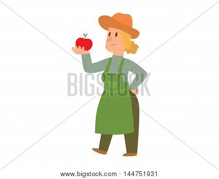 Picking fresh vegetable in garden people character. Agriculture farm green garden harvest people organic outdoors agriculture people. Happy growth garden harvest working people.