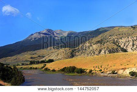 Yellowstone River near Emigrant Montana runs between two mountain ranges the Gallatin and the Absaroka mountains.