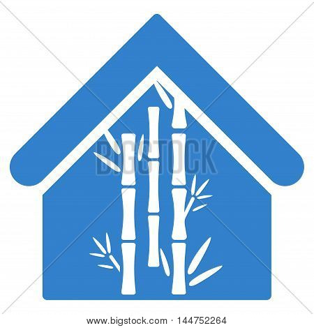 Bamboo House icon. Vector style is flat iconic symbol, cobalt color, white background.