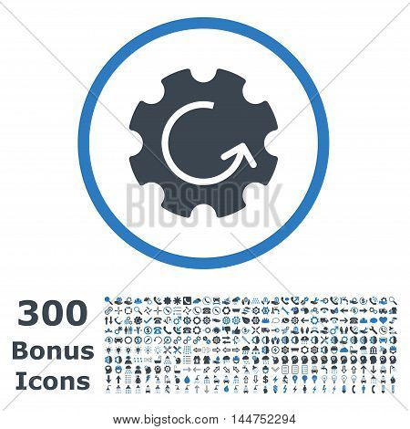 Gear Rotation rounded icon with 300 bonus icons. Vector illustration style is flat iconic bicolor symbols, smooth blue colors, white background.