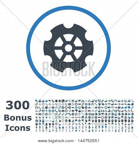 Gear rounded icon with 300 bonus icons. Vector illustration style is flat iconic bicolor symbols, smooth blue colors, white background.