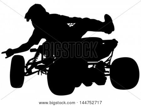 Athletes ATV during races on white background