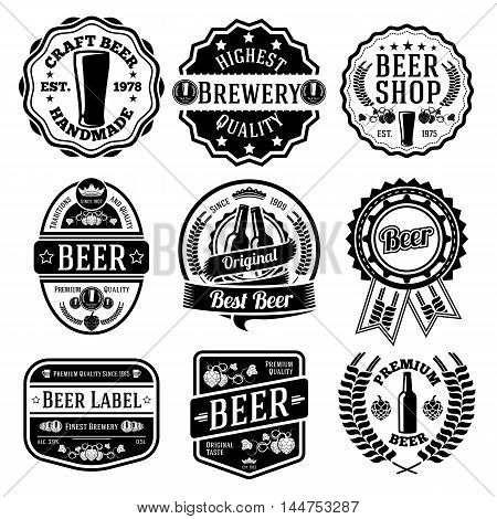 Vector set of beer labels and emblems