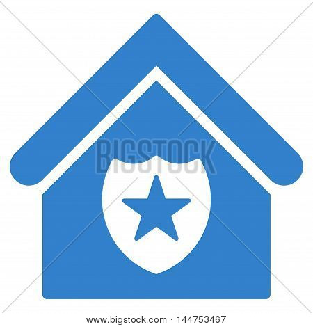 Realty Protection icon. Vector style is flat iconic symbol, cobalt color, white background.