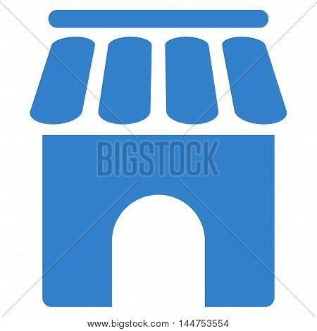 Shop Building icon. Vector style is flat iconic symbol, cobalt color, white background.