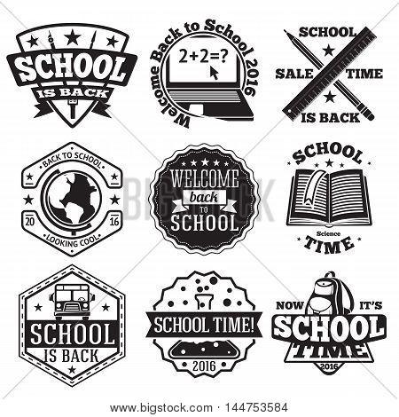 Vector set of school badges for new season, sales etc. With globe, computer, book, backpack, school bus etc.