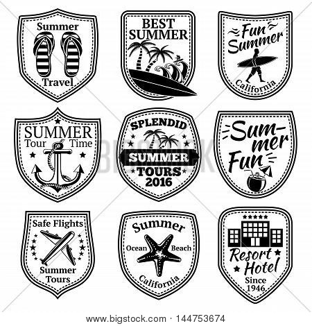 Set of summer labels with surfer, anchor, palms, flip flops, cocktail, hotel, starfish airplane Vector illustration