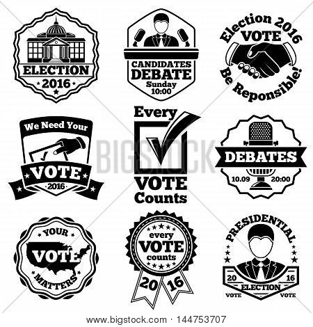 Vote and election labels badges. Vector illustration