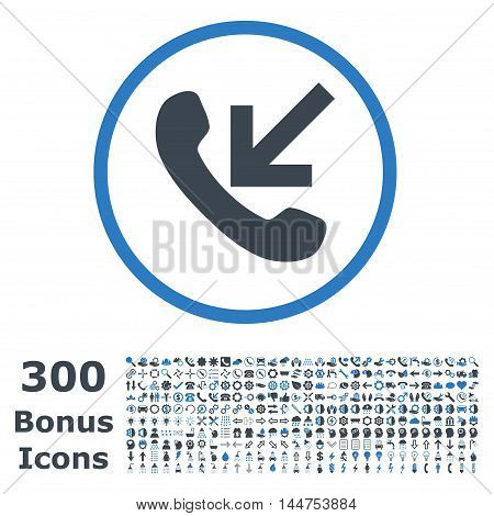 Incoming Call rounded icon with 300 bonus icons. Vector illustration style is flat iconic bicolor symbols, smooth blue colors, white background.