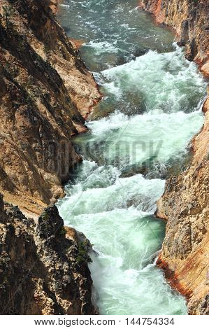 As the Yellowstone River leaves Lower Falls its curving waterway is steep and narrow canyon walls. White water rapids roll and boil.