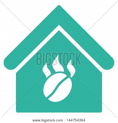 Coffee Shop icon. Vector style is flat iconic symbol, cyan color, white background.