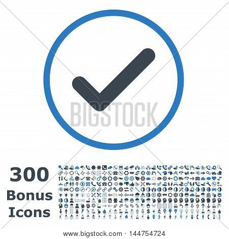 Ok rounded icon with 300 bonus icons. Vector illustration style is flat iconic bicolor symbols, smooth blue colors, white background.