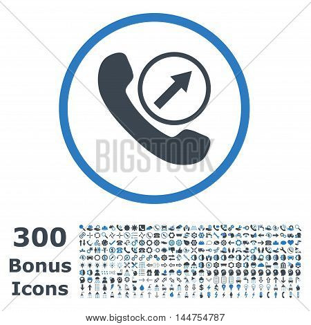 Outgoing Call rounded icon with 300 bonus icons. Vector illustration style is flat iconic bicolor symbols, smooth blue colors, white background.