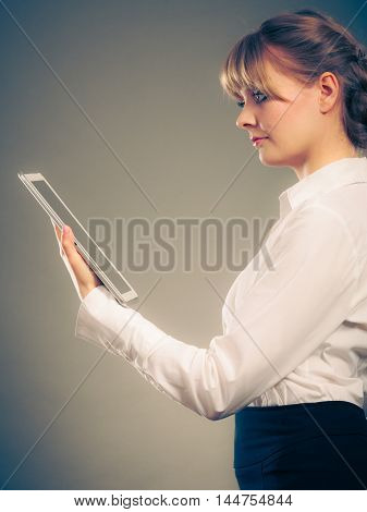 Woman Reading Learning With Ebook. Education