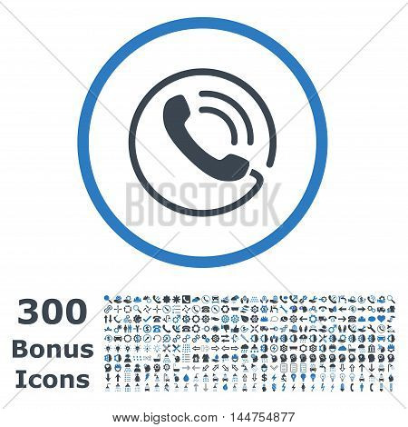 Phone Call rounded icon with 300 bonus icons. Vector illustration style is flat iconic bicolor symbols, smooth blue colors, white background.