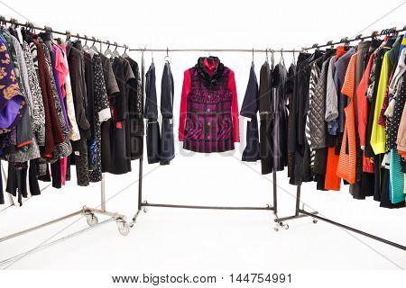 Set of female dress and sundress isolated on hanging