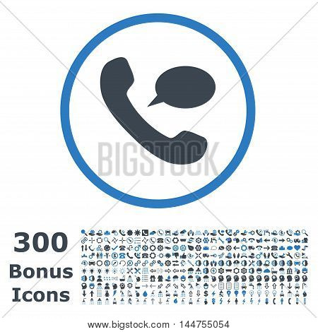 Phone Message rounded icon with 300 bonus icons. Vector illustration style is flat iconic bicolor symbols, smooth blue colors, white background.