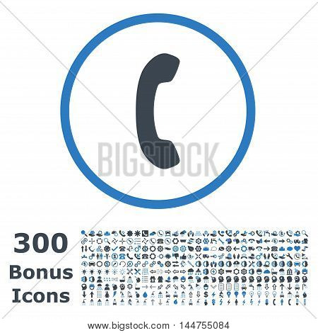 Phone Receiver rounded icon with 300 bonus icons. Vector illustration style is flat iconic bicolor symbols, smooth blue colors, white background.