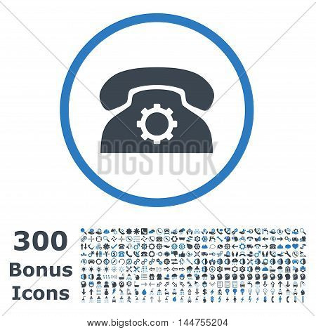 Phone Settings rounded icon with 300 bonus icons. Vector illustration style is flat iconic bicolor symbols, smooth blue colors, white background.