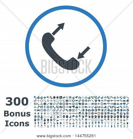 Phone Talking rounded icon with 300 bonus icons. Vector illustration style is flat iconic bicolor symbols, smooth blue colors, white background.