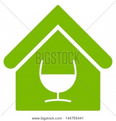 Alcohol Bar icon. Vector style is flat iconic symbol, eco green color, white background.