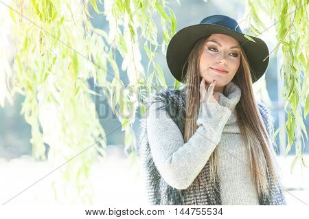 Portrait Of Beauty Woman Outdoors