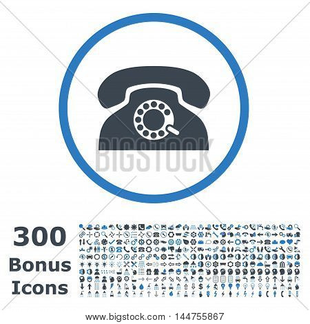 Pulse Phone rounded icon with 300 bonus icons. Vector illustration style is flat iconic bicolor symbols, smooth blue colors, white background.
