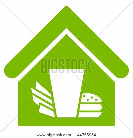 Fastfood Cafe icon. Vector style is flat iconic symbol, eco green color, white background.