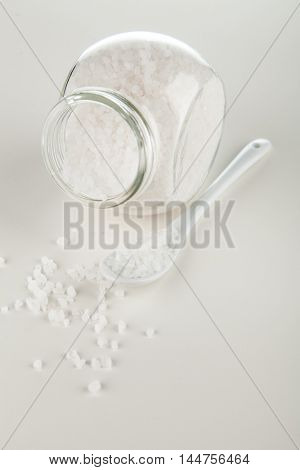Salt in glass container
