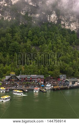 Fantastic Scenery Of Norwegian Village, Geiranger