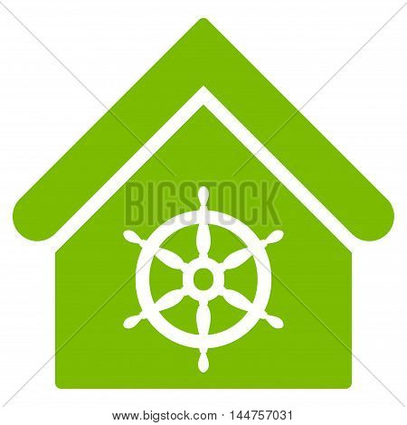 Steering Wheel House icon. Vector style is flat iconic symbol, eco green color, white background.