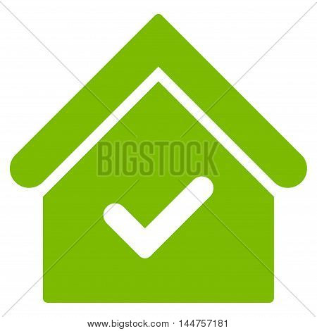 Valid House icon. Vector style is flat iconic symbol, eco green color, white background.