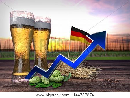 rising beer consumption in Germany - 3D render
