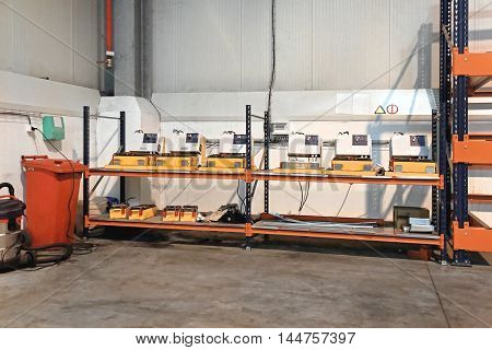 Charging Batteries For Pallet Shuttle in Warehouse