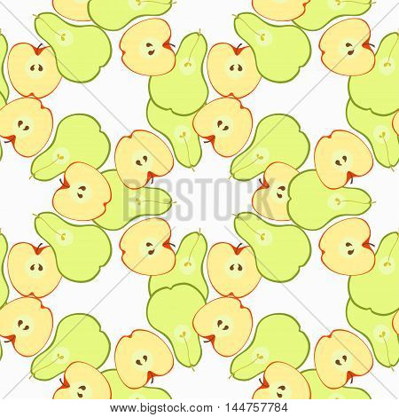 Seamless Pattern With Apples And Pears In The Section. Vector Illustration