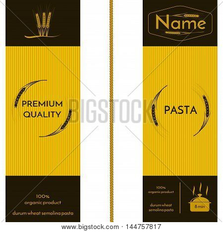 wheat ears image and logo on the packaging of spaghetti or other pasta