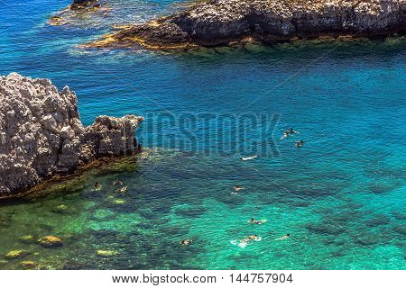 Scenery Of A Beautiful Bay From Rhodes Island, Greece