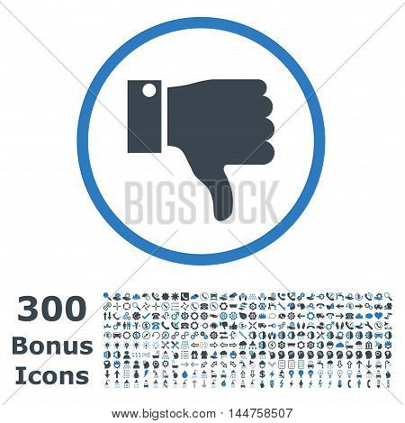 Thumb Down rounded icon with 300 bonus icons. Vector illustration style is flat iconic bicolor symbols, smooth blue colors, white background.