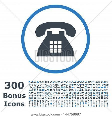 Tone Phone rounded icon with 300 bonus icons. Vector illustration style is flat iconic bicolor symbols, smooth blue colors, white background.