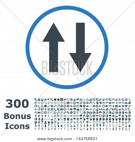 Vertical Flip Arrows rounded icon with 300 bonus icons. Vector illustration style is flat iconic bicolor symbols, smooth blue colors, white background.