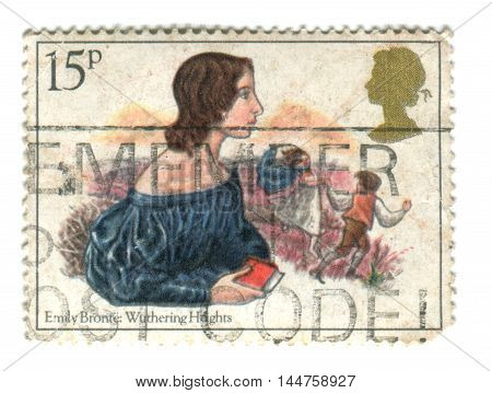 UNITED KINGDOM - CIRCA 1980: A used postage stamp printed in UK showing Emily Bronte: Wuthering Heights