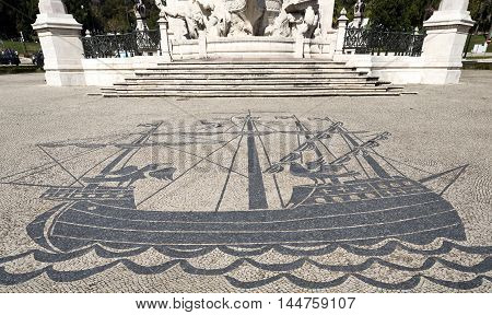 LISBON, PORTUGAL - October 15, 2015: Detail of the magnificent stone work on the ground in front of the monument to the Marquis of Pombal on October 15, 2015 in Lisbon, Portugal