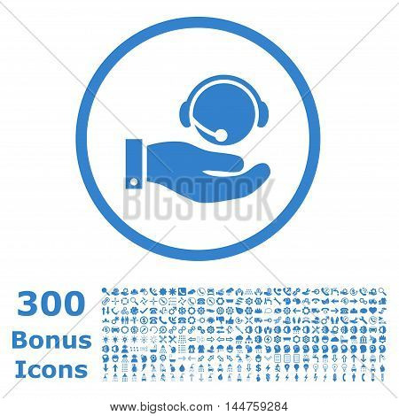 Call Center Service rounded icon with 300 bonus icons. Vector illustration style is flat iconic symbols, cobalt color, white background.
