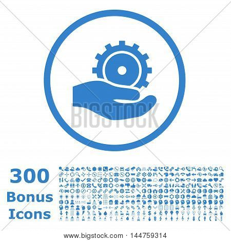 Development Service rounded icon with 300 bonus icons. Vector illustration style is flat iconic symbols, cobalt color, white background.