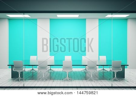 Concrete conference room interior with blank blue posters. Mock up 3D Rendering