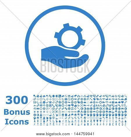 Engineering Service rounded icon with 300 bonus icons. Vector illustration style is flat iconic symbols, cobalt color, white background.