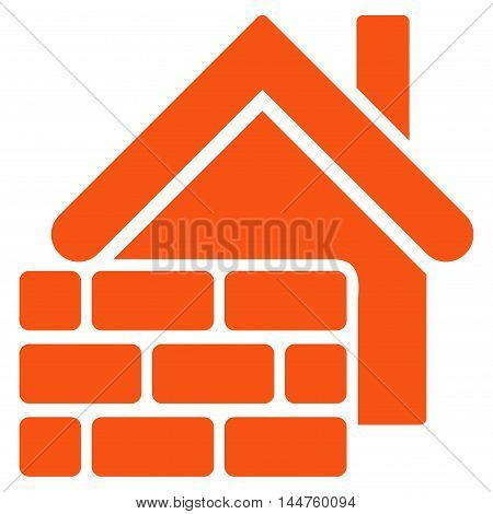 Realty Brick Wall icon. Vector style is flat iconic symbol, orange color, white background.